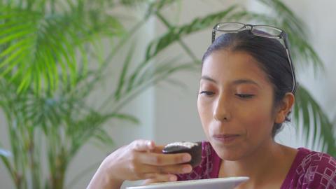 Eating Desert Stock Video Footage