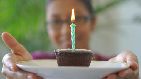 Giving A Birthday Cake Stock Video Footage