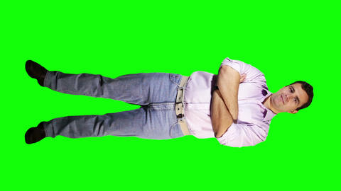 Young Man Arms Crossed Smiling Full Body Greenscreen 1 Stock Video Footage