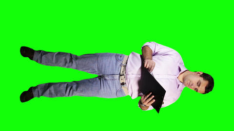 Young Man Checking Documents Angry Full Body Greenscreen 20 Stock Video Footage
