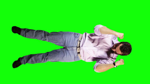 Young Man Happy Full Body Greenscreen 24 Stock Video Footage