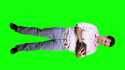 Young Man Tablet PC Good News Full Body Greenscreen 12 Stock Video Footage