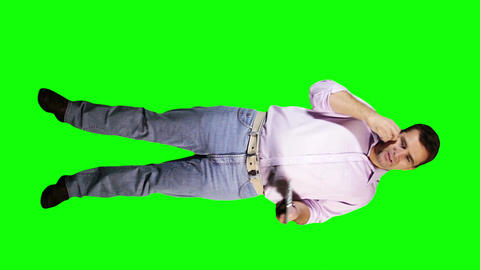 Young Man Tablet PC Phone Going Crazy Full Body Greenscreen 17 Footage