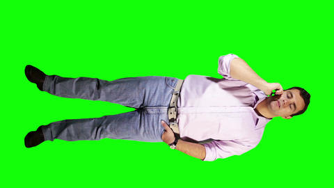 Young Man Talking Phone Bad News Full Body Greenscreen 5 Stock Video Footage