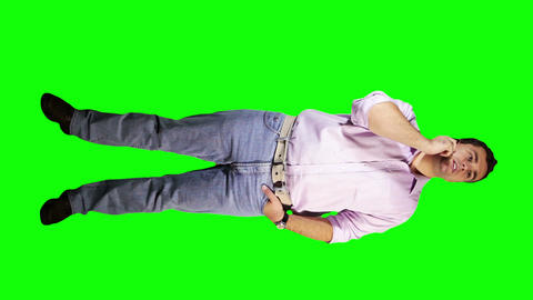 Young Man Talking Phone Waiting Full Body Greenscreen 2 Stock Video Footage