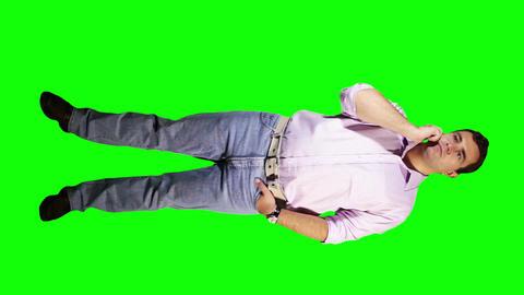 Young Man Talking Phone Waiting Full Body Greenscreen 2 Footage