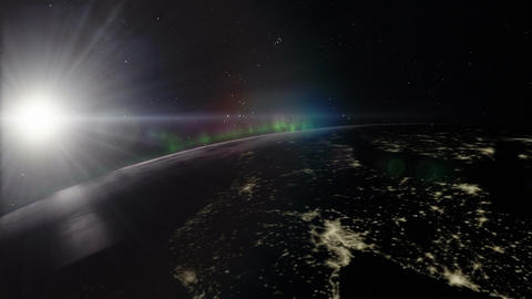 Planet Earth Night Timelapse with Closeup of Northern Lights Animation