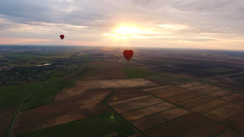 Hot Air Balloon In The Sky Over A Field.Aerial View stock footage