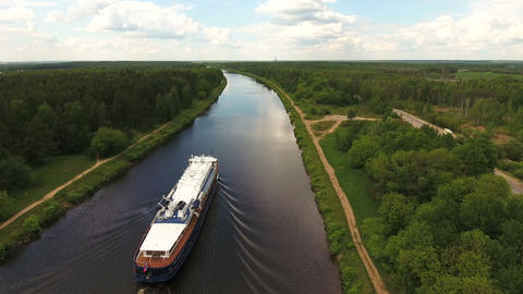 Cruise Ship On The River.Aerial View stock footage