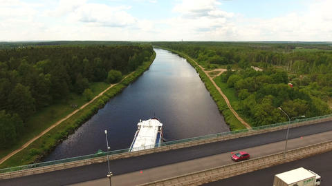 Cruise ship on the river.Aerial view Footage