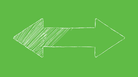 Arrow at green screen background. white and transparent animated hand drawn Animation