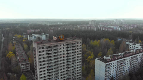 City of Pripyt near Chernobyl nuclear power plant Stock Video Footage