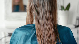 Woman with Wet Straight Light Brown Hair Sitting in Hairdressing Haircare Salon Footage