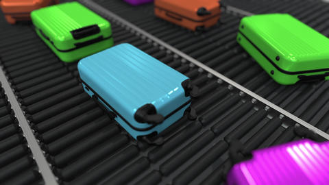 Colorful suitcases move on roller conveyor in the airport. Loopable 3D animation GIF