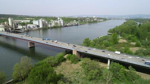 Aerial view of highway bridge and River Rhine Archivo