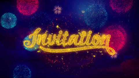 Invitation Greeting Text Sparkle Particles on Colored Fireworks Footage