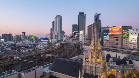 Nagoya city skyline day to night time lapse in Nagoya city, Japan timelapse Footage