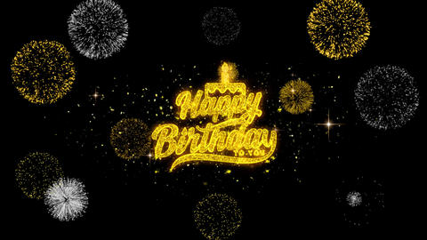 Happy Birthday to you Golden Text Blinking Particles with Golden Fireworks Footage