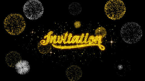 Invitation Golden Text Blinking Particles with Golden Fireworks Display Live Action