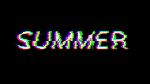 From the Glitch effect arises season name SUMMER. Then the TV turns off. Alpha channel Premultiplied Animation