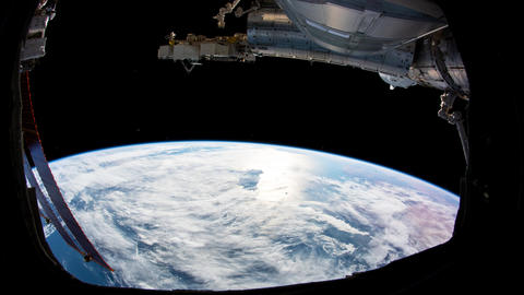 Planet Earth seen from the ISS. Space exploration of planet Earth at night. Elem Live Action