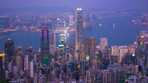 Hong Kong cityscape skyline with landmark buildings in Hong Kong city time lapse Live Action