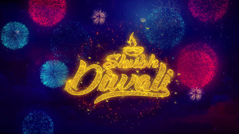 Shubh Diwali Happy diwali Greeting Text Sparkle Particles on Colored Fireworks Live Action