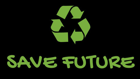"Animated recycling logo with ""green"" slogan - Save Future Footage"
