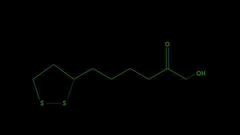 Animation - structural formula of Vitamin N or lipoic acid Footage