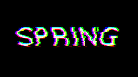 From the Glitch effect arises season name SPRING. Then the TV turns off. Alpha channel Premultiplied Animation