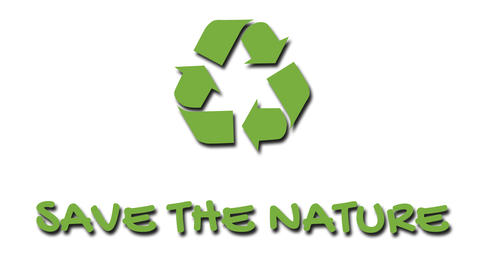 """Animated recycling logo with """"green"""" slogan - Save The Nature Footage"""
