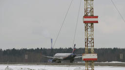 Airplane of Aeroflot taking off. Departure from Sheremetyevo Airport in Moscow Archivo