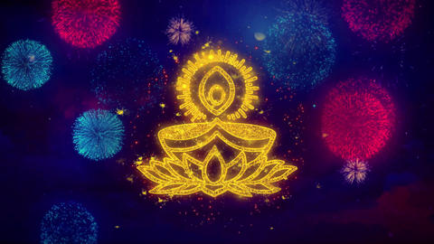 Deepak Diya Lamp Greeting Text Sparkle Particles on Colored Fireworks Footage