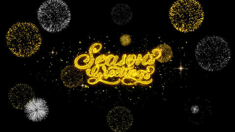 Seasons Greetings Golden Text Blinking Particles with Golden Fireworks Display Footage