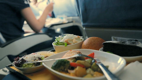 Served Lunch in Aircraft. Meals on board Live Action