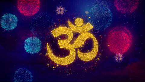 Om or Aum Shiva Greeting Text Sparkle Particles on Colored Fireworks Footage