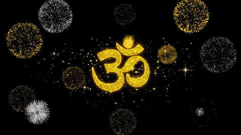 Om or Aum Shiva Golden Text Blinking Particles with Golden Fireworks Display Footage