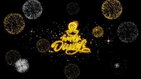 Happy Diwali Diya Golden Text Blinking Particles with Golden Fireworks Display Footage