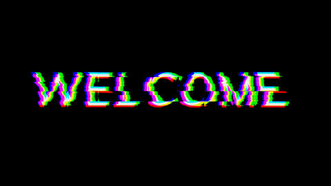 From the Glitch effect arises text WELCOME. Then the TV turns off. Alpha channel Premultiplied - Animation