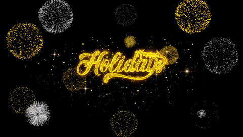 Happy Holidays Golden Text Blinking Particles with Golden Fireworks Display Footage