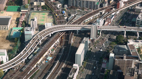 aerial view of traffic in Osaka, Japan GIF
