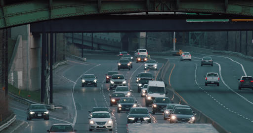 Telephoto shot of highway traffic Footage
