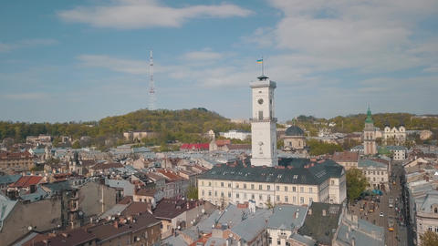 Aerial City Lviv, Ukraine. European City. Popular areas of the city. Town Hall Live Action