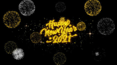 2021 Happy New Year Golden Text Blinking Particles with Golden Fireworks Display Live Action