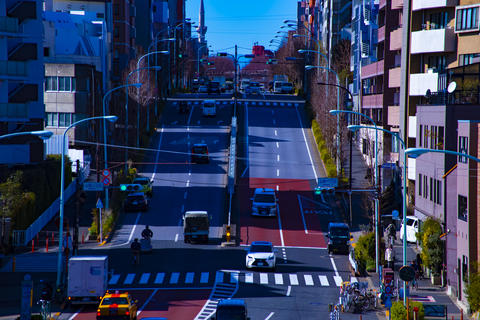 City street at the downtown in Tokyo daytime