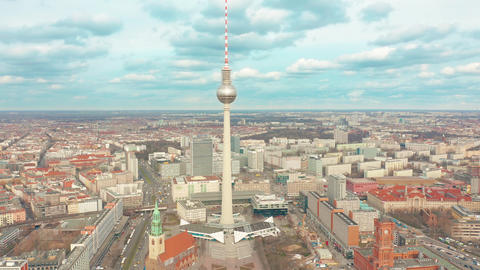 BERLIN, GERMANY - MARCH 28, 2019. Aerial shot of TV Tower on Alexanderplatz Footage