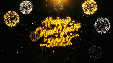 New Year 2022 Wishes Greetings card, Invitation, Celebration Firework Looped Live Action