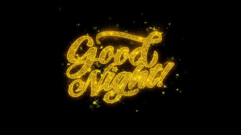 Good Night Typography Written with Golden Particles Sparks Fireworks Footage