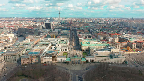 Berlin Brandenburg Gate aerial view with city traffic Live Action