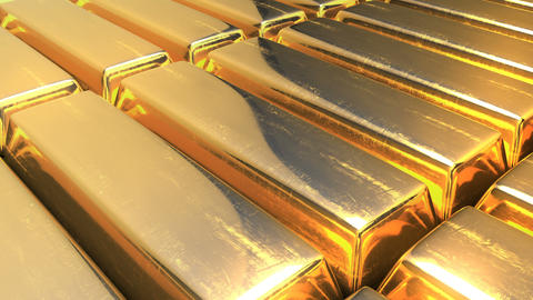 Raw gold bars. Ultimate wealth concept. Endless loopable video Animation